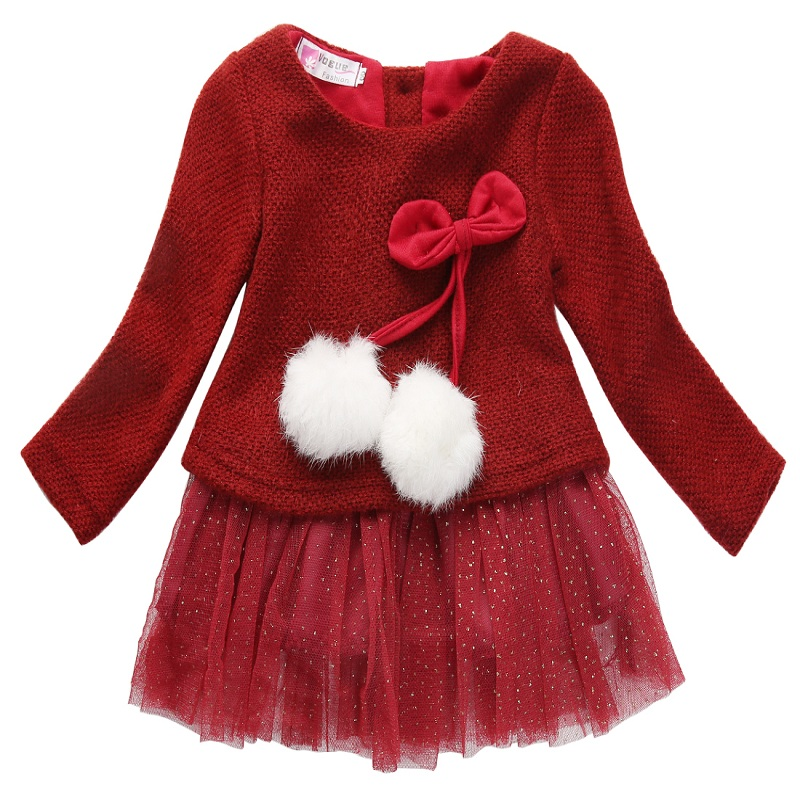 pudcoco Newborn Baby Girls Dress Knit Sweater Tops Lace Bowknot Dresses Clothing 0-24M