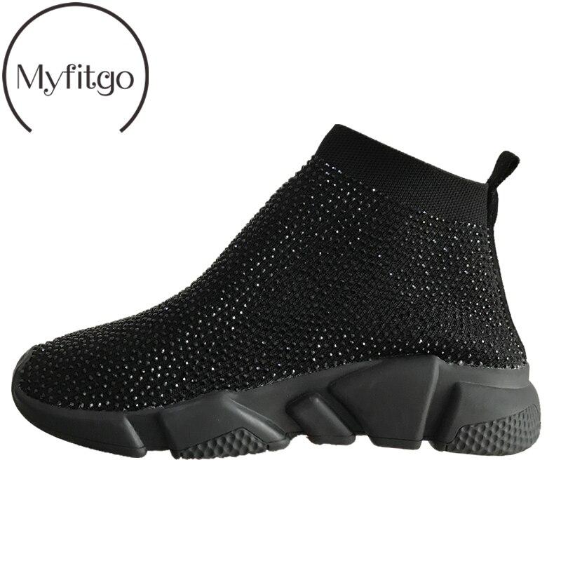 Myfitgo femmes extensible chaussette baskets printemps tricoté Air maille femme chaussures plates Sport décontracté marche bottes solide brillant Rhineston
