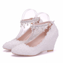 New Sweet Wedding Shoes 8cm Women Elegant Heels Wedges Shoes Pumps White Pearl And Crystal Wedge Shoes Big Size 34-41 XY-A0144 handmade women pumps princess shoes pearl rhinestones wedding shoes crystal adult ceremony super high heels xy a0044
