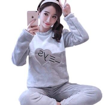 62c78813d8 Grueso cálido franela a cuadros conjuntos de pijama para 2019 mujeres de manga  larga de invierno de terciopelo de Coral pijama de niña linda ropa de  dormir ...