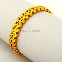 Heavy Golden Bracelet Chain Unisex Solid 18K Yellow Gold Plated Watch Chain Alluvial Gold Bracelet Bangle Jewelry Wholesale