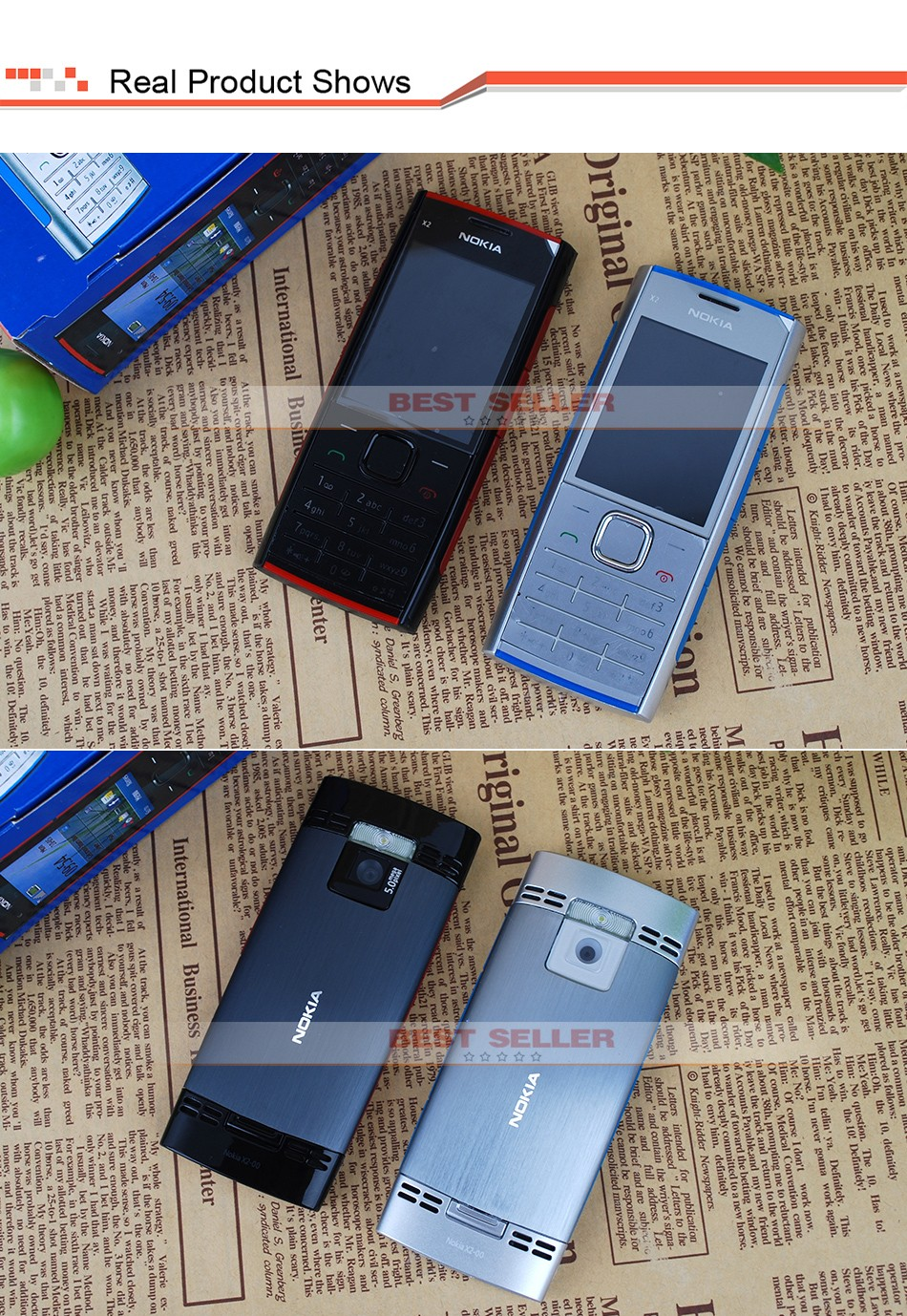 Refurbished phone Nokia X2-00 Bluetooth FM JAVA 5MP Cell Phones Free Shipping black 4