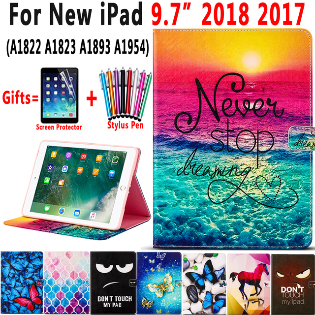Fashion Painted Leather Smart Case for Apple iPad 9.7 2017 2018 A1822 A1823 A1893 A1954 5th 6th Generation Cover Coque Fanda