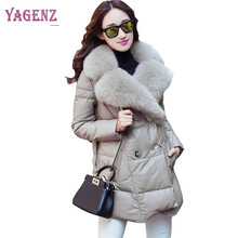 Winter Women Leather Feather Cotton Jacket 2018 High Quality Long Warm Feather Cotton Outerwear Slim Fur Collar Fur Overcoat B67