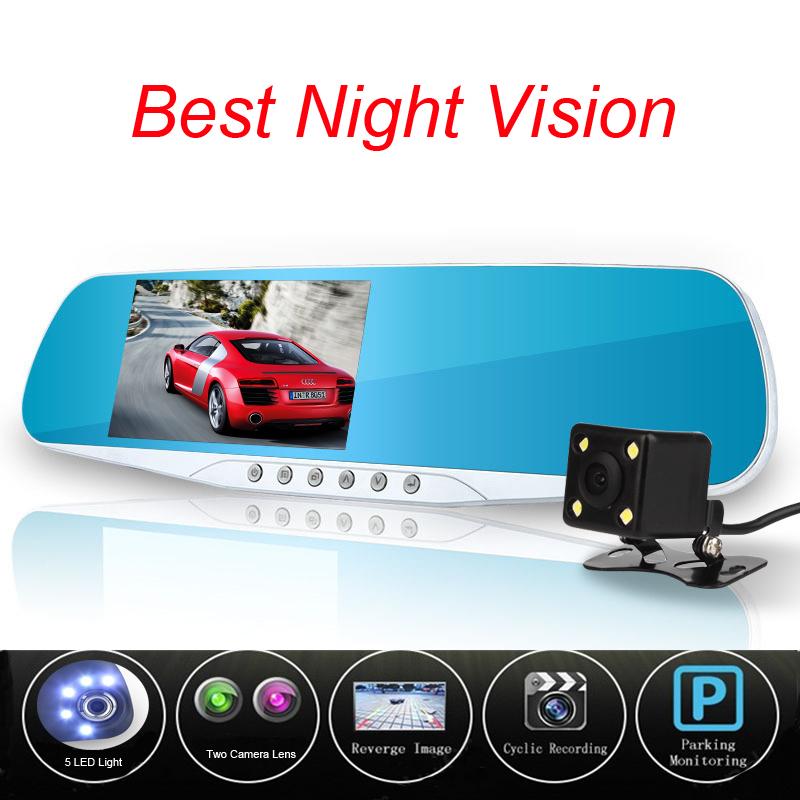 Prix pour Date Night Vision Voiture Caméra Dvr Bleu Examen Miroir Numérique Enregistreur Vidéo Auto Registrator Caméscope Dash Cam Full HD 1080 P