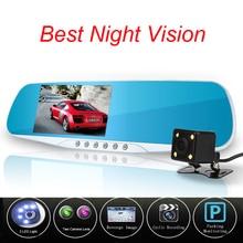 Más reciente Cámara de Visión Nocturna Coche Dvr Azul Espejo Retrovisor Grabador de Vídeo Digital Auto Registrator Videocámara Dash Cam Full HD 1080 P