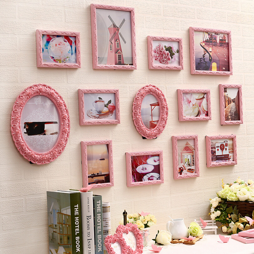 13 pcs set carved wooden photo frame set pink white - Molduras de madera para pared ...