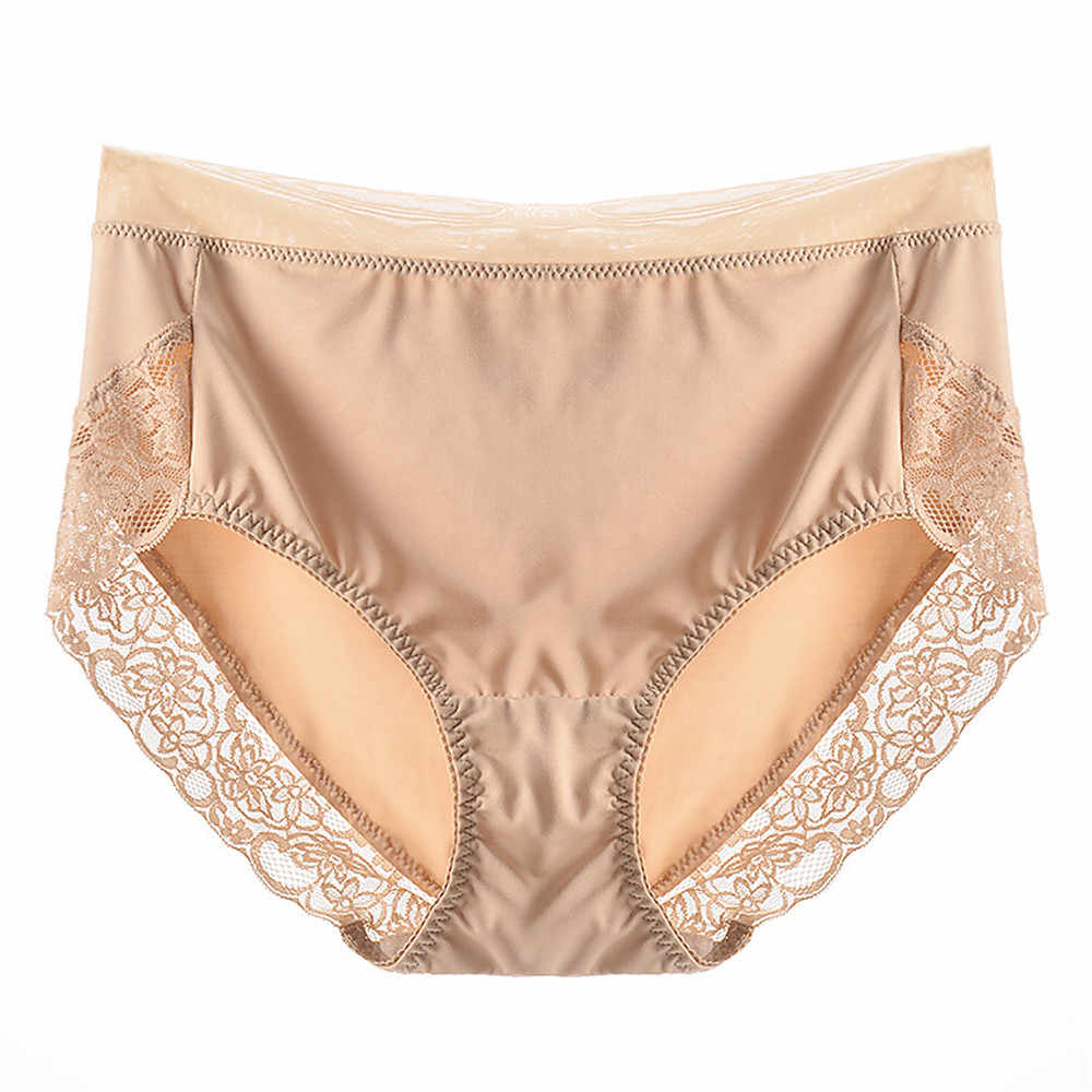 fb06d89ef908 Big Size 2L-4L Women Satin Underwear Sexy Lace Sheer Briefs Lady Smooth  Tangas Knickers