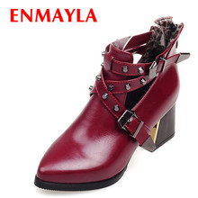 Pointed Toe Rivets Punk women boots big size Square heel PU Ankle BOOTS SHOES Spring / Autumn new Martin boots цена