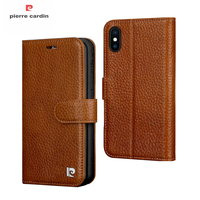 Pierre Cardin Wallet Case For iPhone X 10 Coque Luxury Original Genuine Leather Magnetic Flip Cover Case For iPhone X Cards Slot