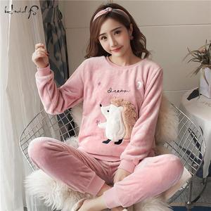 Image 3 - Thick Warm Flannel Pajama Sets for Women 2019 Winter Long Sleeve Coral Velvet Pyjama Girl Cute Sleepwear Homewear Clothing