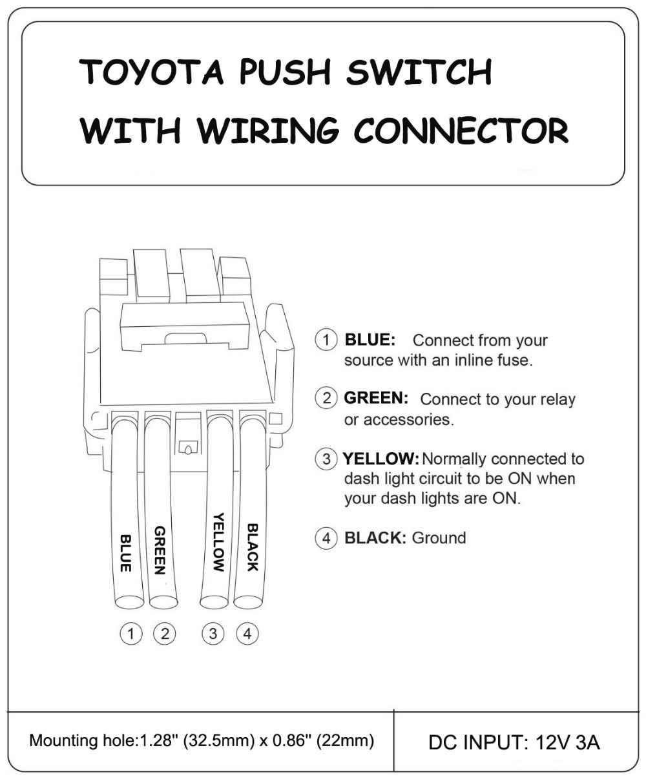Red LED Light Bar Spot Rear Light Car Push Button Switch 12V 3A For Toyota  Hilux Prado Rav4 Landcruiser + Plug Wire