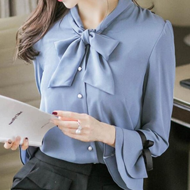 b440f6d5f9e997 Women 2019 Spring Long Sleeve Bow Tie Blouse with Bow Tie Tops Girls Cute  Ladies Office Workwear Shirts Clothing Peplum Blusas