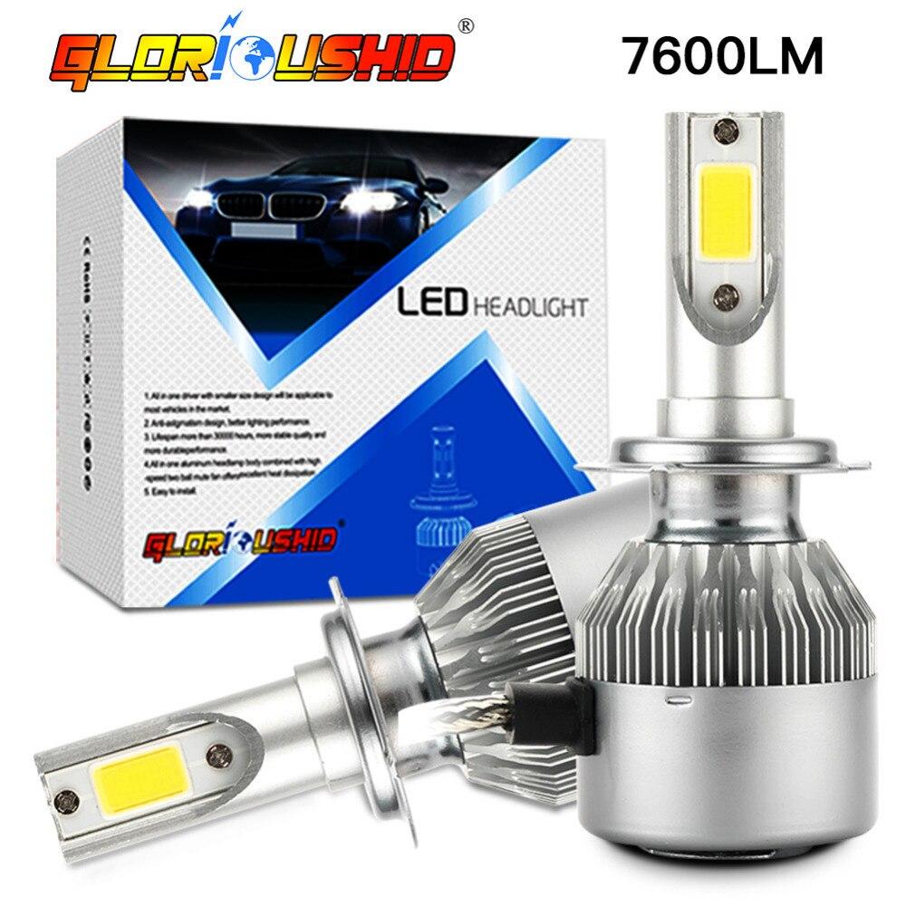 2pcs car headlight H7 <font><b>Led</b></font> H4 72W 7600lm 6000k white H1 H3 H11 H8 H9 9005 HB3 9006 Auto Front light fog Bulb automobilelamp