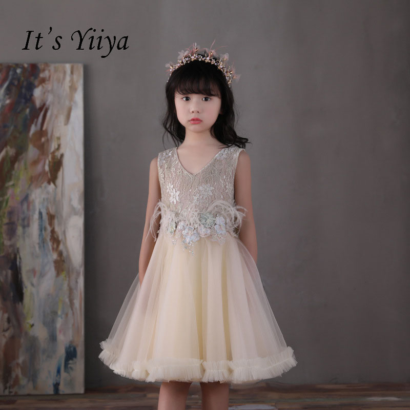 It's yiiya Zipper Princess V-neck Ruffles Lace Bow Kid Flower Child Cloth Flower Girl Dress For Party Wedding Girl Dress S173