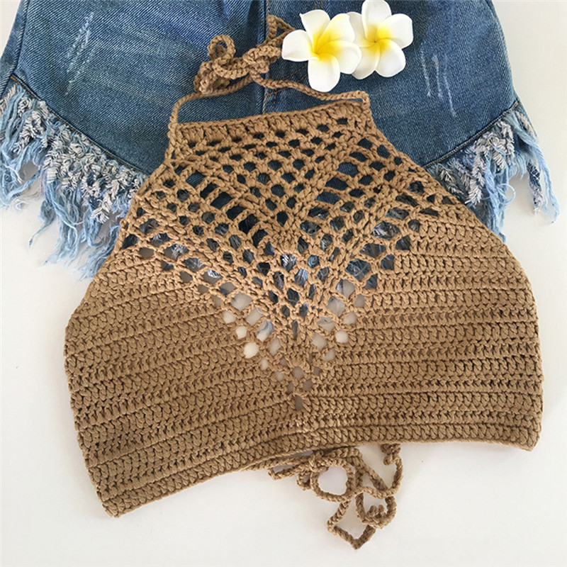 Women Summer Short Vest Sexy Hollow Out Plain White Halter Vest Strap Crop   Tops   Crochet Bikini   Tank     Tops   Shirt Hot Sale