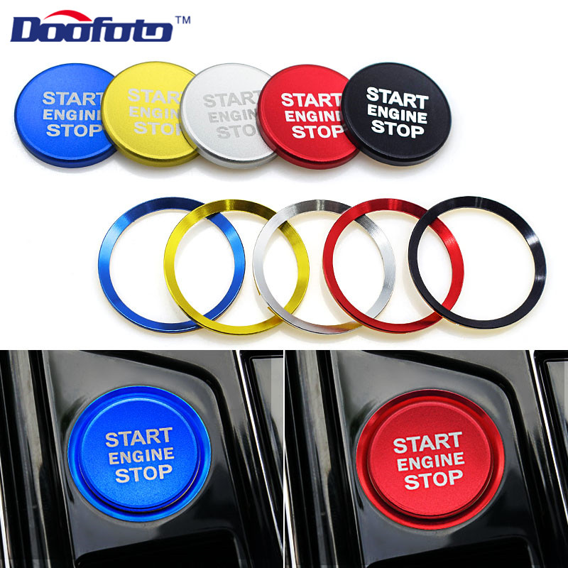 Doofoto Accessory Black Covers Car Start Engine Button Silver Rings Case For Volkswagen Golf 6 7 Passat B5 B6 Polo Tiguan Caddy