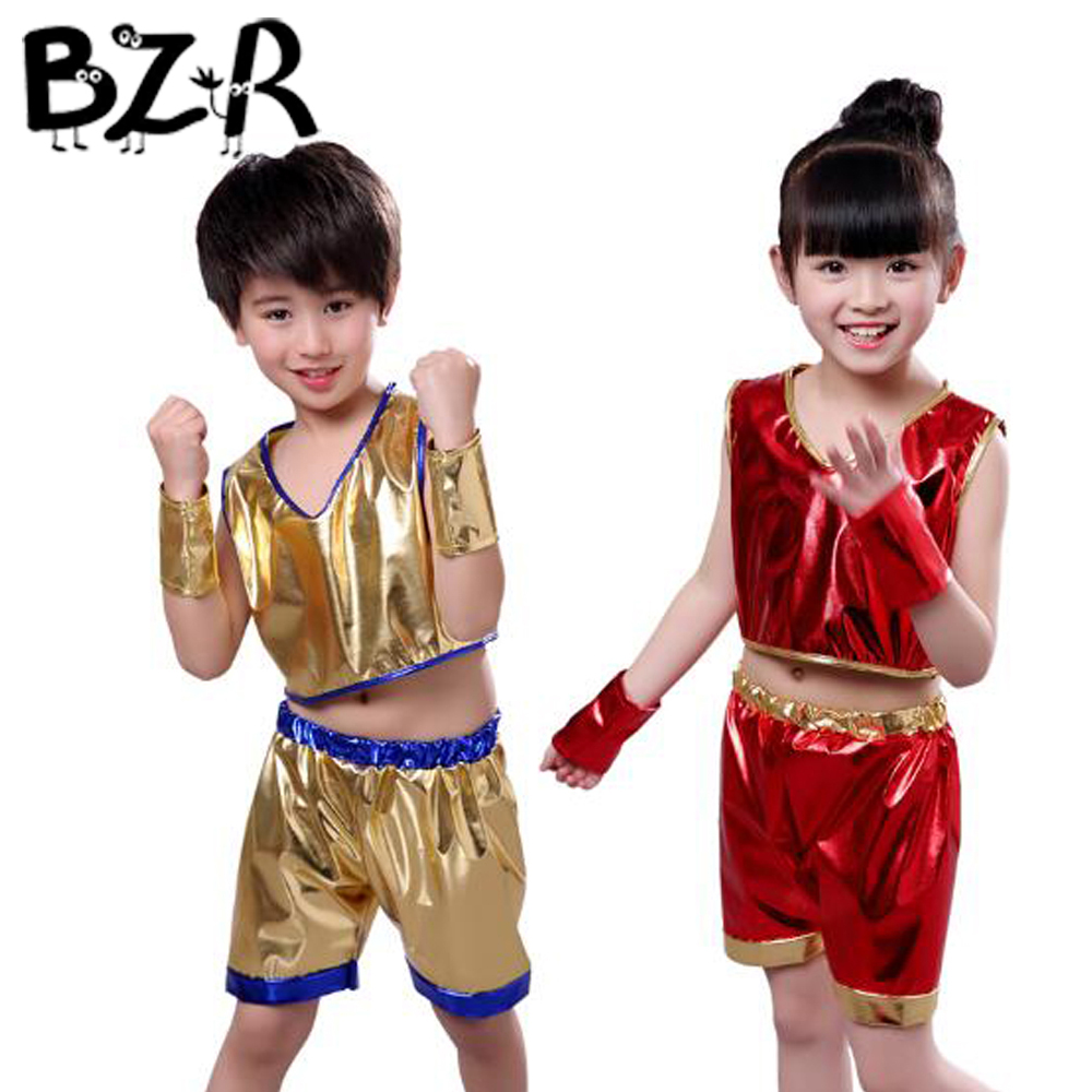 BAZZERY Unisex Kids Jazz Dance Suit Children Hip-hop Wear Tops & Pants Dancing School Student Training Stage Performance Costume