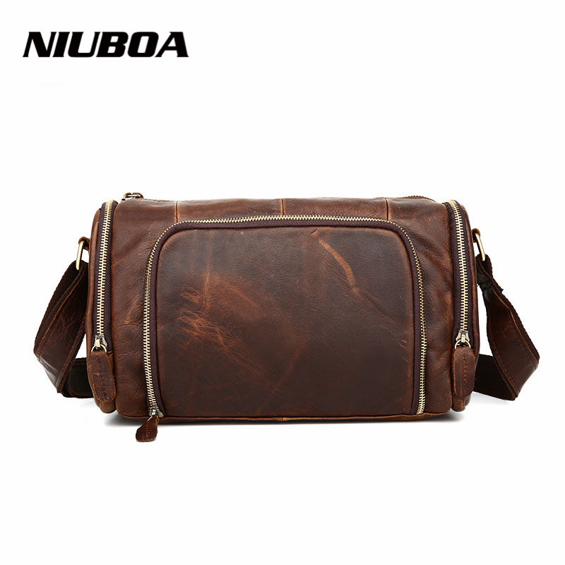 NIUBOA New Casual Leather Shoulder Bags Genuine Leather Men Chest Bag High Quality Retro Crazy Horse Small Messenger Bag For Man famous brand men chest bags theftproof open fashion leather travel crossbody bag man messenger bag crazy horse leather bag chest