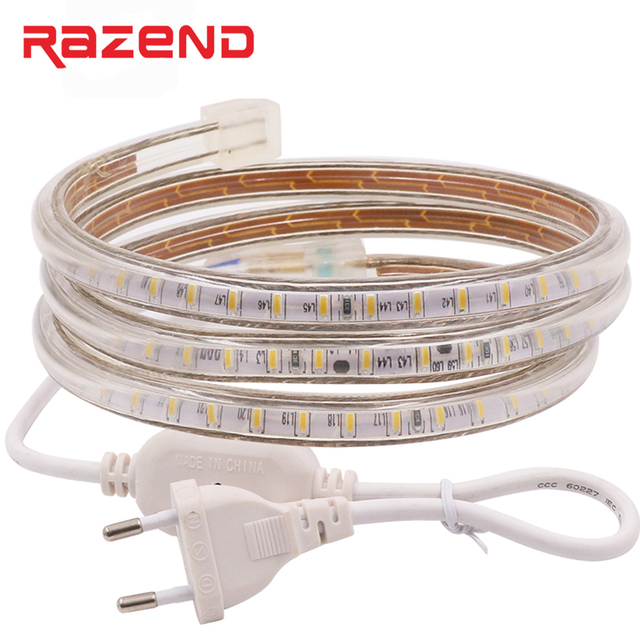 120leds/m 100m SMD 3014 led strip 220V 240v 1m 2m 3m 4m 5m 10m 15m 20m 25m 50m Power plug waterproof led lights Free shipping