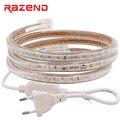120 светодиодов/м SMD 3014 Светодиодная лента 220 в 240 В 1 м 2 м 3 м 4 м 5 м 10 м 15 м 20 м 25 м 50 м 100 м Разъем питания Водонепроницаемая светодиодная лампа све...
