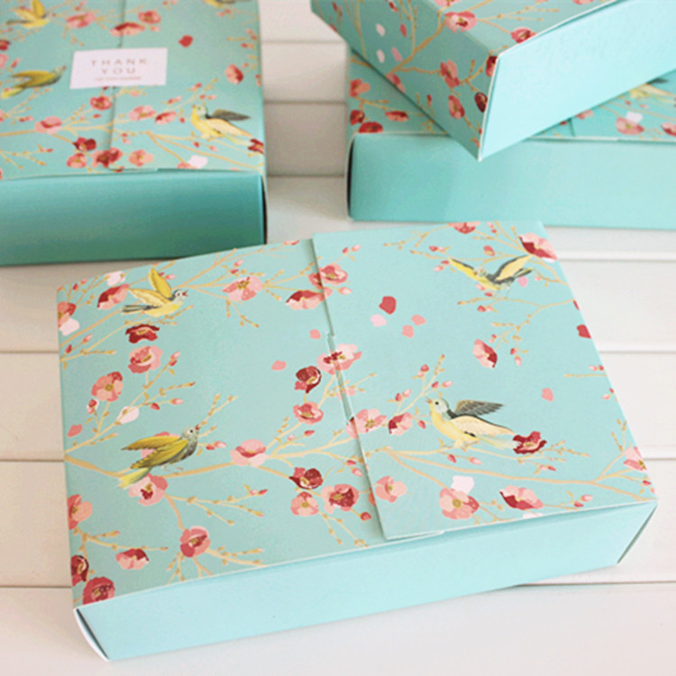 20pcs big blue flower birds decoration bakery package dessert candy cookie cake packing box gift boxes supply favors