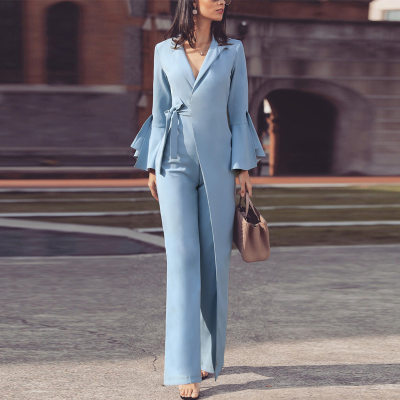 Women Elegant Long Sleeve Workwear Jumpsuit Formal Party Romper Irregular Flared Sleeve Knot Side Wide Leg Jumpsuits