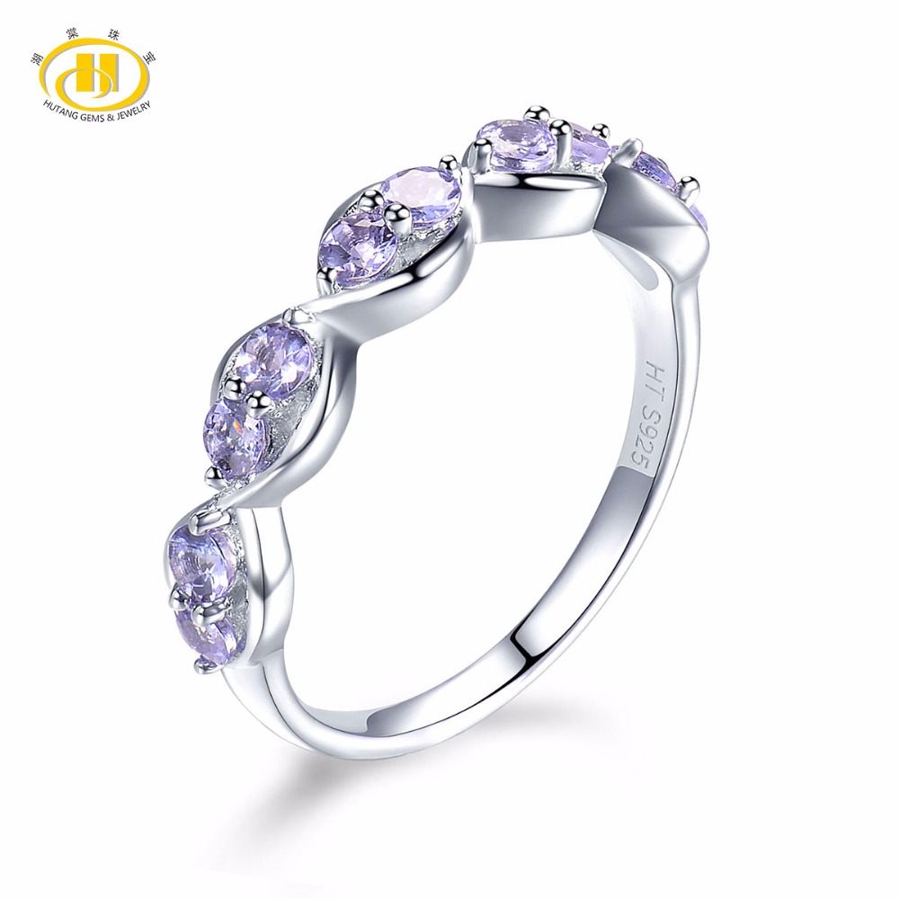 все цены на Hutang Solid 925 Sterling Silver Natural Gemstone Tanzanite Infinity Ring Fine Jewelry presents Gift For Women