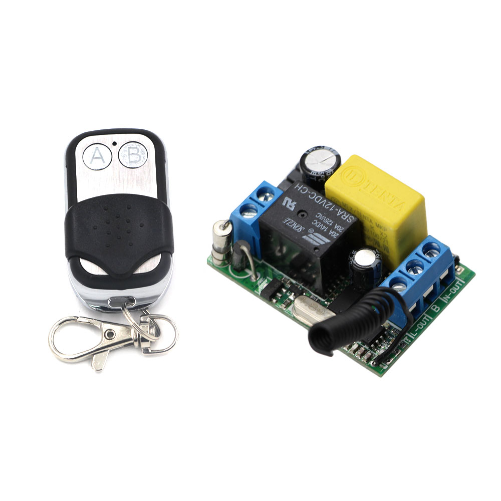 Best Price AC220V 10A 1 Channel Wireless Remote Control Switch Receiver Board & Transmitter For Electronic Gates 315/433Mhz