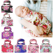 PUDCOCO Newest Soft 2PCS Infant Newborn Baby Girls Boys Floral Swaddle Wrap Blanket+Headband Outfits Set Sleeping Bag Cloth