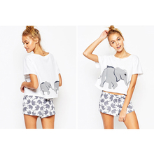 Elephant Graphic Pajamas Sets Women. Sexy Lingerie Home Cotton Crop Tops Shorts Nightwear Sleepwear Pijama