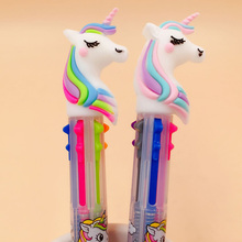 2Pcs/lot 6 Colors Unicorn Cartoon Ballpoint Pen School Office Supply Gift Stationery Papelaria Escolar 1 pcs cartoon rainbow unicorn 6 colors silicone press ballpoint pens school office supply gift stationery