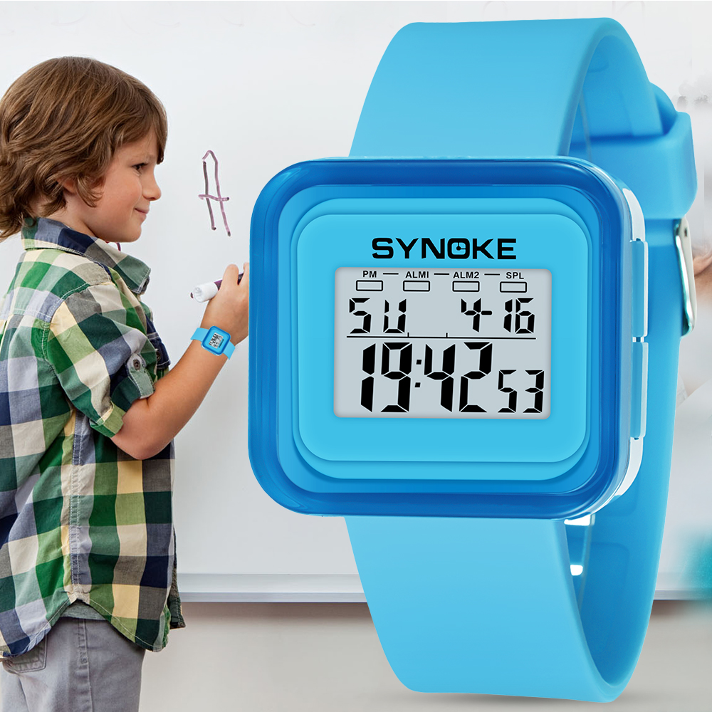 Men's Watches Watches Industrious Synoke Kids Nocturnal Square Back Light Waterproof Watch Function Children Sports Electronic Watch Fashion Top Brand Luxury