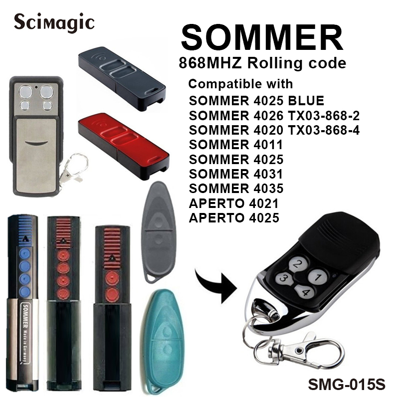 Sommer Garage Remote Red Led 4026 868MHz Gate Garage Door Remote Control Fob Transmitter SOMMER Garage Command Gate Control