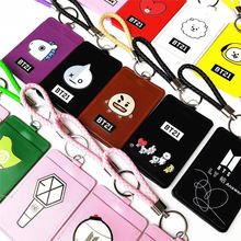 New Hot Fans Gifts Kpop Star BTS BT21 EXO GOT7 TWICE WANNA ONE Cartoon BUS ID Card Holder Case PU Credit Cover Bag Pendant(China)