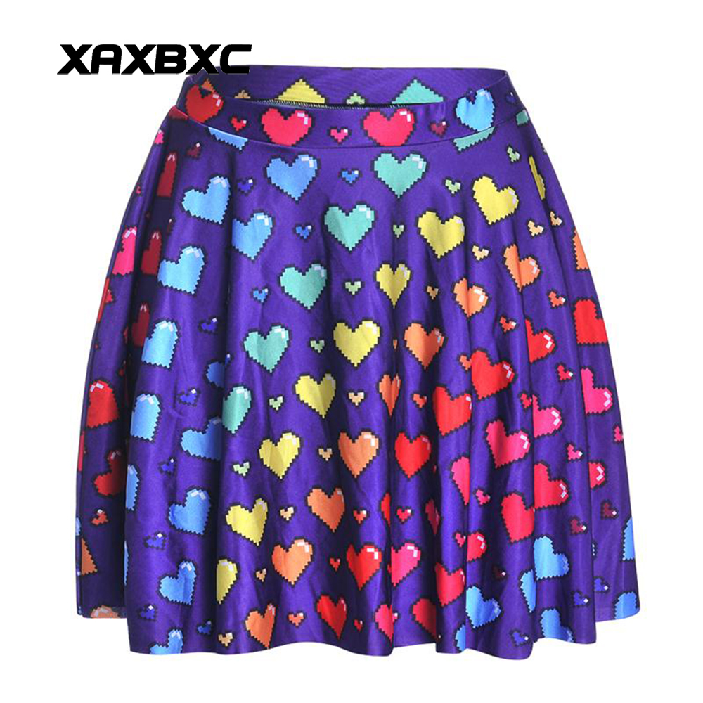 NEW 1215 Summer Sexy Girl Love Ya Bits Rainbow Heart Printed Cheering Squad Tutu Skater Women Mini Pleated Skirt Plus Size