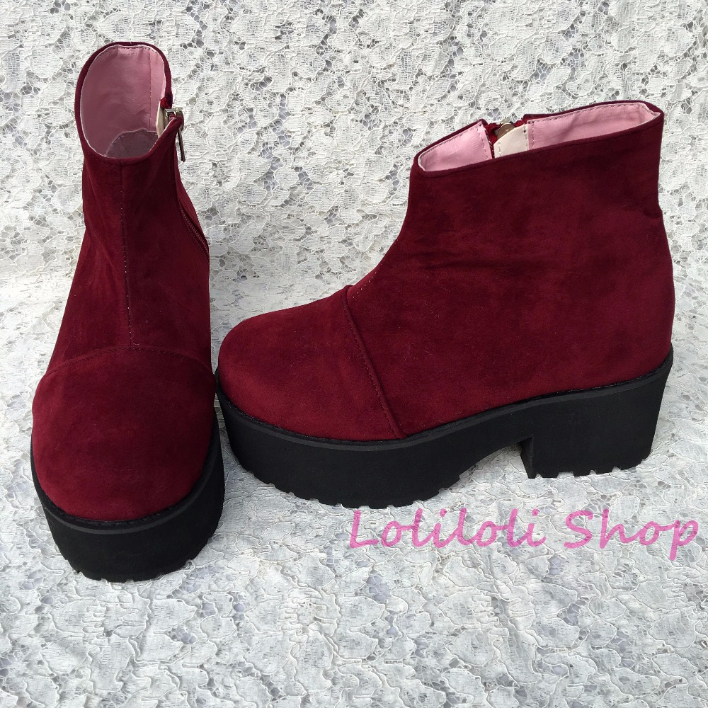 Punk shoes Big shoes special custom shoes an*tai*na*Wine red suede thick high heels custom 1382-7 side zipper punk shoes big shoes special custom shoes black and white thick bottom tie bright leather heels platform customized 1304 2
