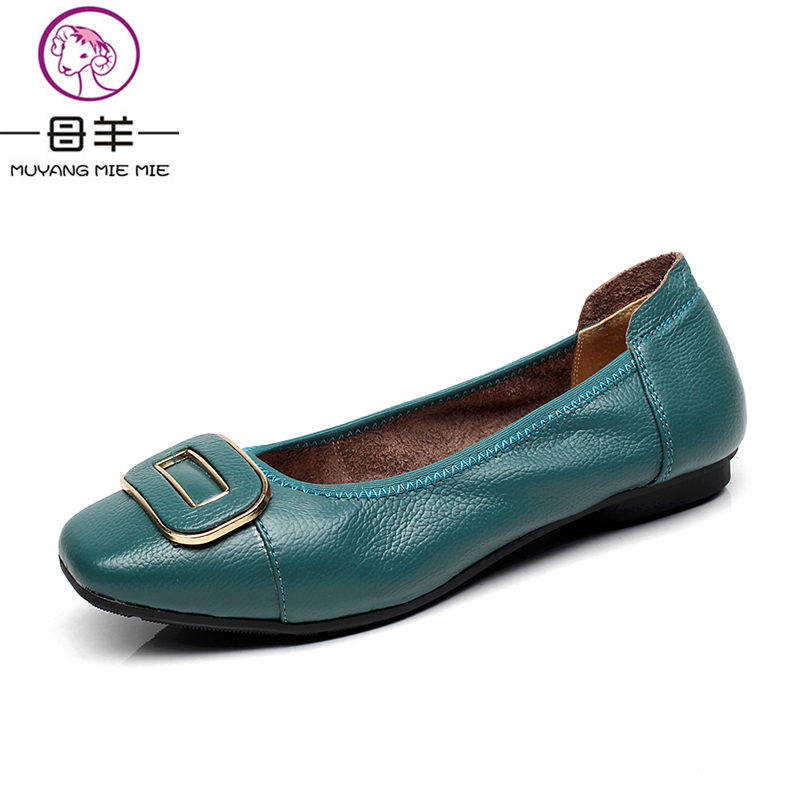 MUYANG MIE MIE Genuine Leather Women Flats New Fashion Square Toe Flat Shoes Woman Casual Soft Loafers Women Shoes new listing pointed toe women flats high quality soft leather ladies fashion fashionable comfortable bowknot flat shoes woman