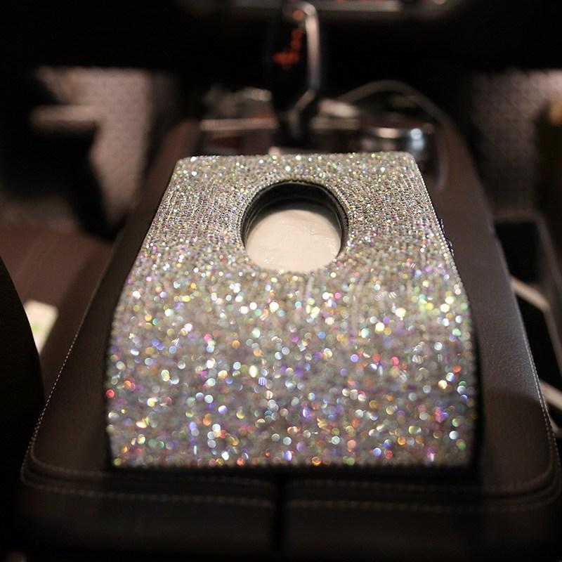 LUNASBORE Luxury Diamond Tissue Box Home <font><b>Car</b></font> PU Leather Auto Interior Accessories For Honda Ford VW WOMAN gift