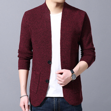 Sweater Mens Fashion V-neck Slim Cardigan 2019 Autumn New Casual Solid Color Button
