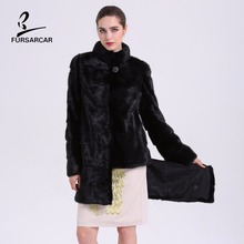 FURSARCAR New Style Women's Real Mink Fur Coat 90CM Long Detachable Coat Full Sleeve Genuine Natural Mink Fur Jackets BF-C0032