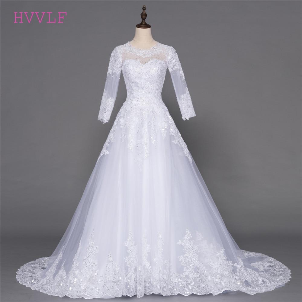 f3b77997ed7 Boho Vestido De Noiva 2018 Muslim Wedding Dresses A-line Long Sleeves Tulle  Appliques Beaded Cheap Wedding Gown Bridal Dresses