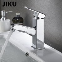 JIKU Wash Hair For Pull Out Hot And Cold Faucet Bathroom Sink Vessel water pump Basin Expandab Tap Bathroom Accessories
