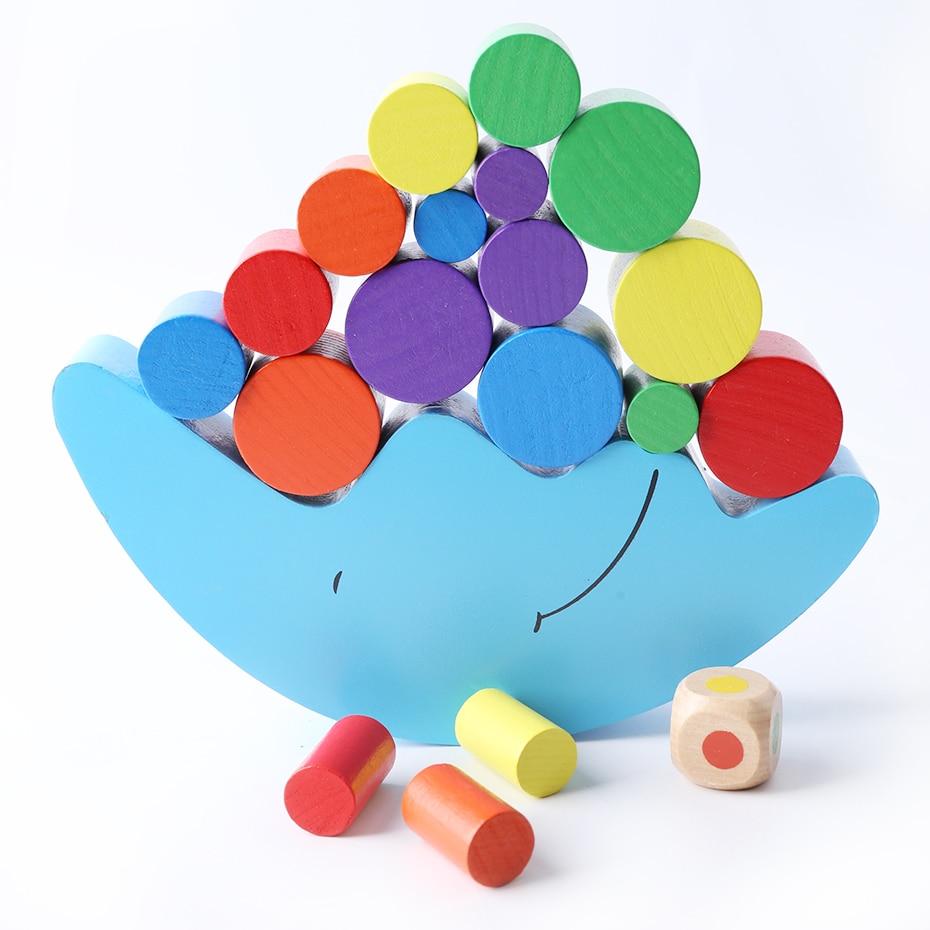 1 Set Baby Houten Speelgoed Maan Balans Blokken Kleurrijke Toren Speelgoed Training Games Food Grade Materialen Baby Geschenken Het Verlichten Van Reuma
