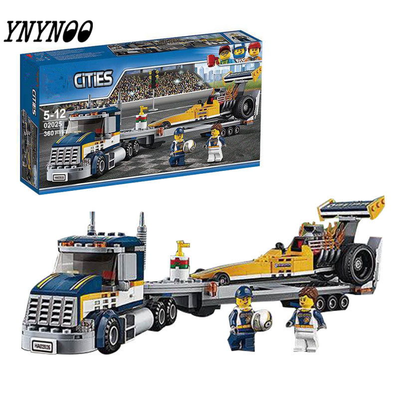 YNYNOO City 02025 Great Vehicles Dragster Transporter Racing Car Trailer Building Brick Boys Police Toys Gift Compatible 60151 lepin 02025 city the high speed racer transporter 60151 building blocks policeman toys for children compatible with lego