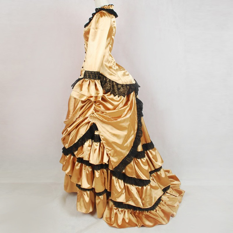 18th Century Retro Gothic Victorian Bustle Masquerade Party Dress Gold  Black Lace Ruffles Southern Belle Ball Gowns Customized-in Dresses from  Women s ... be56ff2aad6f