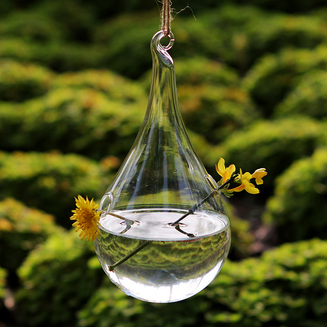 Dia 10*H 18cm Crystal glass flower vase for wedding decoration , hanging vases for home freeship