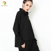 Women Slim Loose Tee Autumn Casual Long Sleeve T Shirt Women Black High Neck Elegant Asymmetry Hem Batwing Sleeve Tops For Women