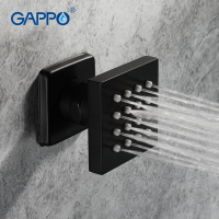 GAPPO Massage Shower Jets Black Paint Square Shower Body Jet SPA Massage brass Bathroom Accessories Wall Mounted Shower Jets