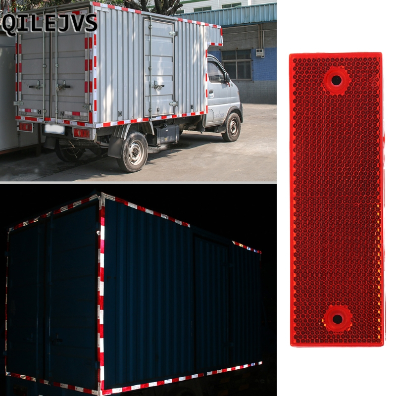 QILEJVS Warning Reflective Safety Plate Reflector Stickers White Red For Car Truck